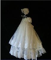 Wit lange kanten doopjurken korte mouw voor baby meisjes stijlvolle kant geappliceerd doopjurken juweel halslijn korte mouwen parels ch