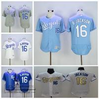 d76aee150 ... Authentic Blue Team Logo Fashion Cool Base Baseball Men Short KC Royals  Jerseys 16 Bo Jackson Jersey Flexbase Kansas City Royals Baseball 1985 ...