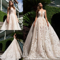 2017 Milla Nova Backless Wedding Dresses A- Line Appliqued Pl...
