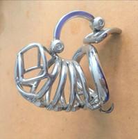 Moda única para hombre Cinturón de castidad Acero inoxidable Nuevo diseño Jaula de castidad Metal Pene Lock Con dispositivo de gancho separado testicular ajustable