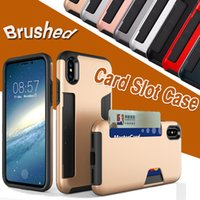 2 in 1 Armor Credit Card Slot Wallet Phone Case TPU+ PC Hybr...