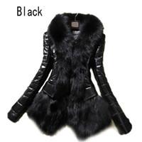 도매 - 2016 뜨거운 럭셔리 여성 가짜 모피 코트 가죽 겉옷 Snowsuit 긴 소매 재킷 블랙 패션 무료 배송