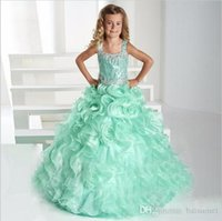 2016 Sweet honey Ruffle Ball Gown Girls Pageant Dresses Spaghetti Kids Rhinestone Beads Sequins Dress Flower Girl Dresses