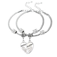 Wholesale- 2PCS Silver Plated Mother Daughter Broken Heart Br...