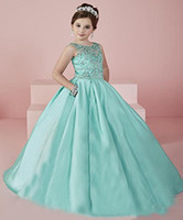 New Shinning Girl's Pageant Dresses 2016 Sheer Neck Beaded Crystal Satin Mint Green Flower Girl Gowns Formal Party Dress For Teens Kids