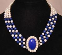 Spedizione gratuita *** 3 fili 7-8mm perle bianche naturali blu lapislazzuli perle rotonde necklce