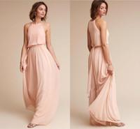 Vintage Blush Pink Chiffon Brautjungfernkleider 2018 Halfter Reißverschluss Zurück Lange Trauzeugin Kleider Günstige Hochzeitsgast Party Kleid