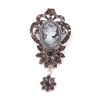 Vintage Cristal Flor Pingente Cameo Broche Pinos em ouro antigo ou cor prata antiga para As Mulheres