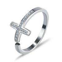 2017 Fashion women jewellery adjustable size cross 925 sterl...