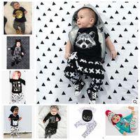 ملابس أطفال يحدد الدعاوى INS فوكس الشريط رسالة الطفل الأزياء كم طويل تي شيرت + سروال الرضع عارضة تتسابق بنين ملابس الصيف مجموعات J437