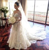 Vintage Sheer Long Sleeves Lace A line Wedding Dresses 2017 ...