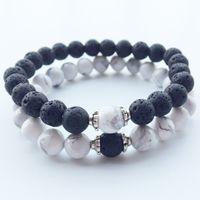 Cuentas de piedra natural de 8 mm Lava Chakra Healing Hilos de cuentas Charm Bracelets Joyería para mujeres Hombres Pareja amante