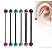 1 UNID Ear Nail Bone Barbell Pendiente Pendiente helix ear stud tragus Ear Piercing Negro Plata Oro Anillo de Cartílago Para Hombres Mujeres