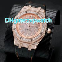 Mens automatic full diamonds rose gold case watch glass back...