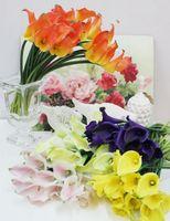 Латексные Каллы 40 шт. 35 см искусственные цветы Real Touch PU Калла Лилия желтый / фиолетовый / зеленый / оранжевый свадебные декоративные цветы искусственный цветок