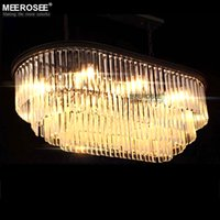 Good K9 Crystal Chandelier Light Lustre Rectangle Crystal Lámpara Colgante Luminarias Suspension Lustre para Restaurante Cafe Hotel