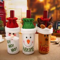 Décorations De Vaisselle De Noël mignon Santa Claus Couverture De Bouteille De Vin Rouge Sacs Mignonne Flanelle Cadeaux De Noël Cadeaux Dîner Décoration De Table