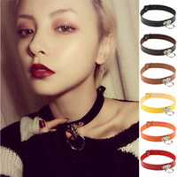 O Circle Ring Choker Necklace Collar multifunction Leather W...