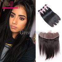 4шт норки бразильские прямые волосы плетения с 13x2 кружевной лобной замыкание крупным планом.