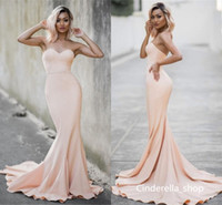 2018 Pink Champagne Mermaid Bridesmaid Dresses Sweet Heart S...