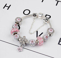 2017 new pink peach blossom beaded bracelet with diamond len...