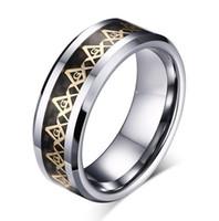 Venta al por menor pequeña cantidad al por mayor símbolo masónico anillo de carburo de tungsteno anillo de joyería de moda para dedo estilo para hombre