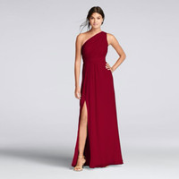 긴 One-Shoulder Crinkle 쉬폰 드레스 F18055 샴페인 웨딩 파티 드레스 이브닝 드레스 공식 드레스 Vestidos de Festa