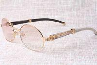 2017 novo diamante redondo óculos de sol gado chifre óculos 7550178 natural perna reta mistura chifres homens e mulheres óculos de sol glasess óculos siz