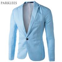 Wholesale-  Sky Blue Blazer Men Costume Veste Homme 2017 New Arrival Mens Slim Fit Blazer Jacket Stylish Red Black Pink Suit Men 3XL