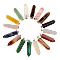 Ассорти из 10 камней Форма пули Gemstone Gift Healing Остроконечные чакры Подвески Кварц Кристалл Шарм Подвеска Randow Цвет для изготовления ожерелья