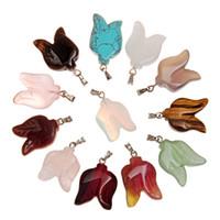 Granos de Chakra de Piedra Natural Colores Mezclados Curación Reiki Tiger Eye Gris Ágata Charm Leaf Spacer Beads Colgante para la joyería DIY Resultados 20 * 15mm