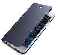Luxo escova fina carteira de couro case para iphone 7 6 6 S Plus galaxy S6 S7 caso borda com suporte de cartão de crédito holer