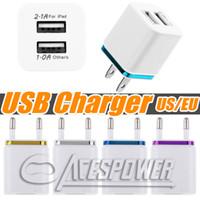 홈 듀얼 USB 충전기 EU 미국 플러그 2 포트 AC 충전 전원 어댑터 삼성 갤럭시 노트 10 Plus S20 Plus LG