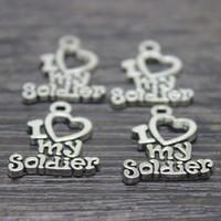 35pcs-- 17*20 мм античный Тибетского серебра я люблю мой солдат подвески кулон для изготовления ювелирных изделий