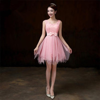 Free Shipping A- line Short Mini Satin Tulle Sleeveless Strap...