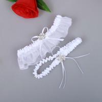 Weiß Braut Strumpfbänder Gürtel Organza Sexy Feminine Kristalle Hochzeit Bein Strumpfbänder Bogen 2 Stück Set Prom Homecoming Free Size 15-23 Zoll Weiß