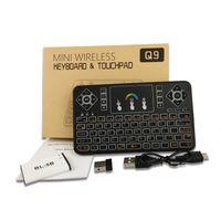 Alta qualiyt voando ar Mouse Q9 retroiluminação colorida incluído bluetooth sem fio Teclado Controle Remoto touchpad para PC android TV CAIXA