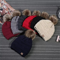 Unisex CC Trendy Hats Winter Knitted Fur Poms Beanie Label F...
