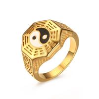 Meavuet Menina dos homens Yin Yin Yang símbolo anéis banhados a ouro de aço inoxidável de aço inoxidável Jewelrybage Anillos Presente US tamanho 7-11 RC-286