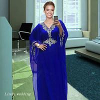 로얄 블루 KAFTAN 이브닝 드레스 새로운 페르시 크리스탈 긴 공식 특별 행사 드레스 댄스 파티 가운 플러스 사이즈 Vestidos de Festa