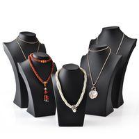 Collana in pelle PU nero Busto Busto di visualizzazione di gioielli alto per gioielli Forma del collo per gioielli Shelf Shelf Exhibition Counter Counter Stand