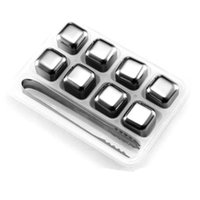 9Pcs Set Stainless Steel Whiskey Stones, Reusable Ice Cubes Chilling Stones Rocks for Wine, Beer, Beverage, ( Set of 8, Tip Tongs, Ice Tray)