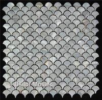 color blanco puro 100% concha de agua dulce china madreperla mosaico para la decoración del hogar baño y cocina azulejo de la pared en forma de abanico