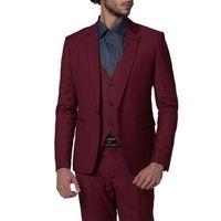 Neuheiten One Button Burgund Bräutigam Smoking Kerbe Revers Groomsmen Best Man Anzüge Herren Hochzeit Anzüge (Jacke + Pants + Weste + Tie) H: 558