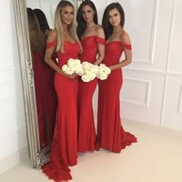2017 Sexy Off the Shoulder Mermaid Maid Of Honor Gowns Red L...