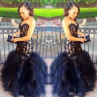 2020 sexy longues robes de bal sirène sweetheart perles manches en dentelle noire Robes de soirée Party Appliques Wear hiérarchisé Jupes gaine Plus Size