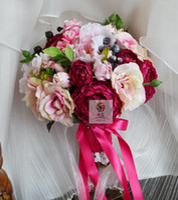 New Style Handmade Rose Pink Lotus Wedding Decorations Holding Bouquets Bride Brunette Graduation Bouquet Flower