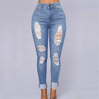 Jeans allentati del retro foro dei jeans allentati di disegno della donna pantaloni a vita alta dei pantaloni della nuova vita dei pantaloni di lunghezza piena di modo per i pantaloni della matita delle donne