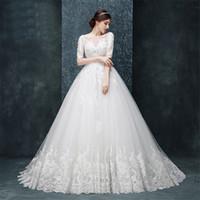 Escote escote media manga de alta calidad aplique de encaje ver a través de vestidos de boda vestidos de bola tren vestidos de novia Vestido Curto