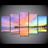 HD Printed 5 Piece canvas art Colorful Sunset Bridge scenery...
